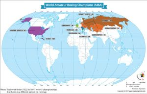 World Map Showing World Amateur Boxing Champions (AIBA)