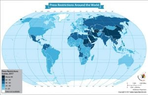 World Map Showing Freedom of the Press by Country