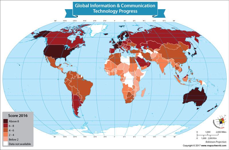The World Map Shows the Global Information & Communication Technology Progress