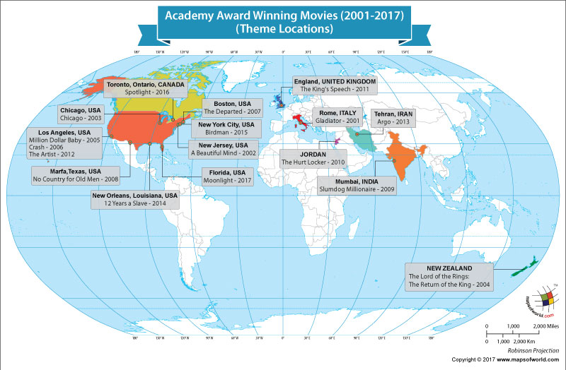 World Map Showing Academy Award Winning Movies and Theme Locations