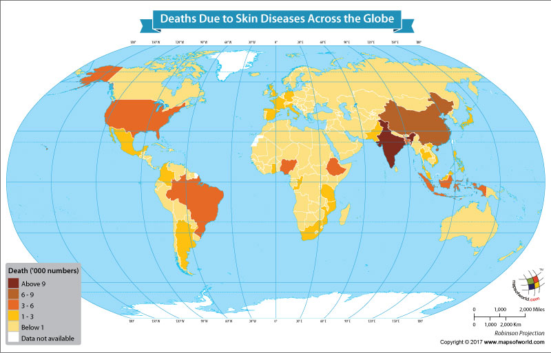 World Map Showing Deaths Due to Skin Diseases Across the Globe