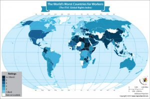 World Map Showing the World's Worst Countries for Workers
