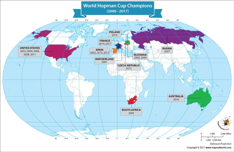 World Map Showing World Hopman Cup Champions