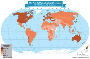 World Map Showing the World's Most Globalized Countries