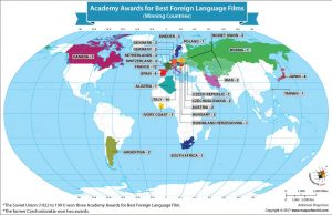 World Map Showing Academy Awards for Best Foreign Language Films