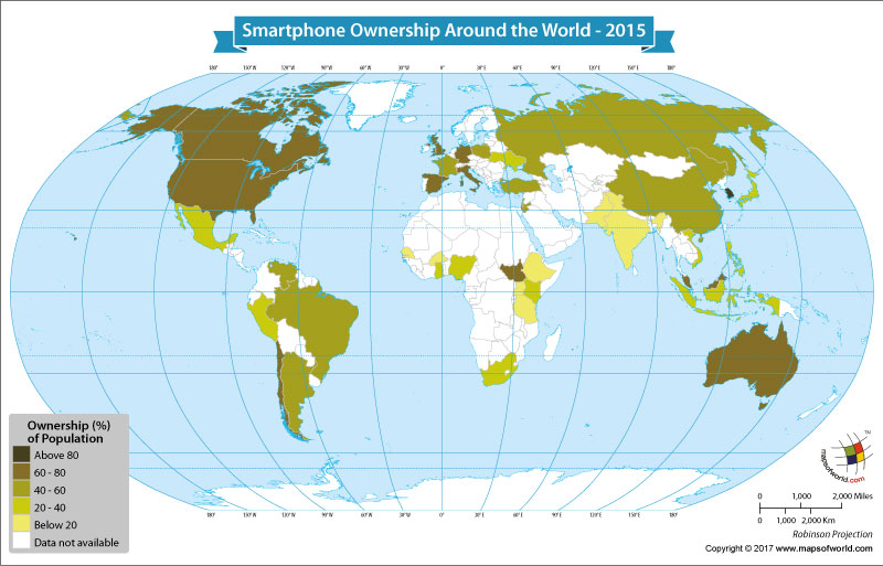 World Map Showing Smartphone Ownership Around the World