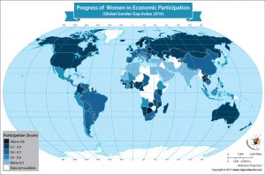 World Map Showing Progress of Women in Economic Participation