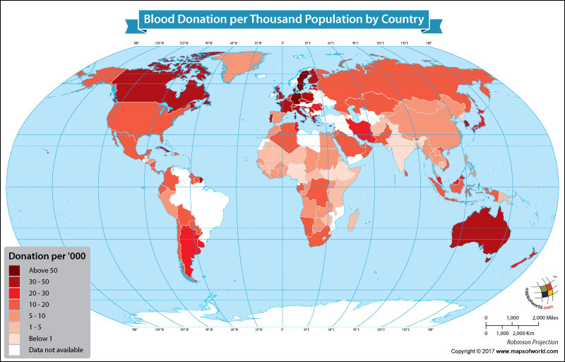 World Map Showing the Blood Donation per Thousand Population by Country