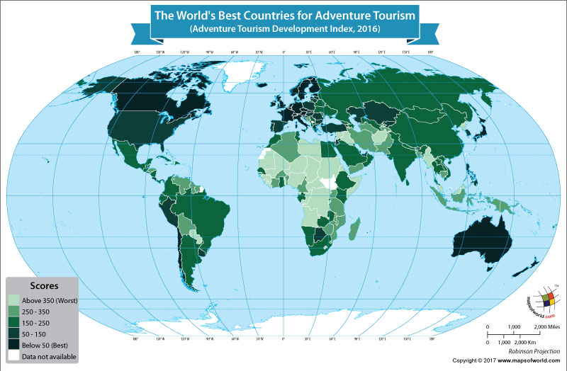 World Map Showing the World's Best Countries for Adventure Tourism