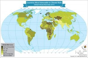 World Map Showing Countries Most Vulnerable to Climate Risks