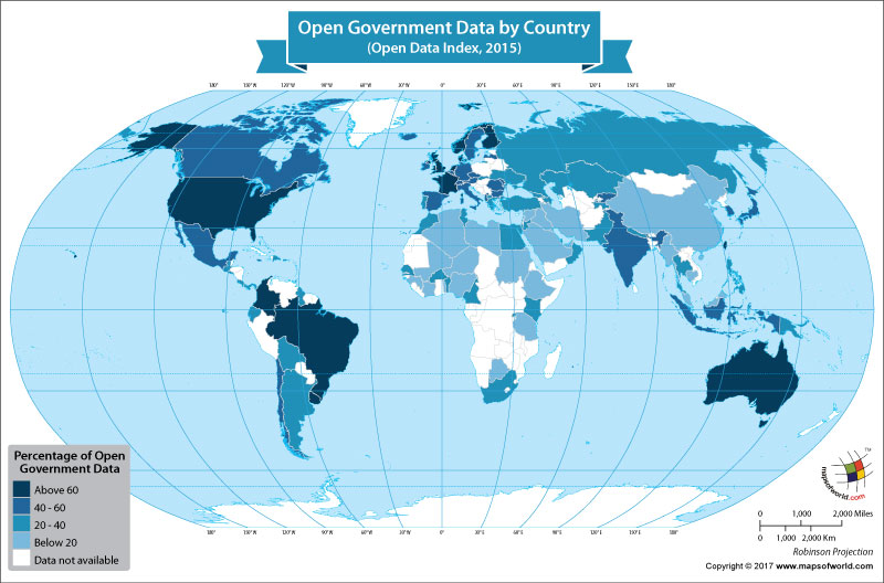 World Map Showing Open Government Data by Country