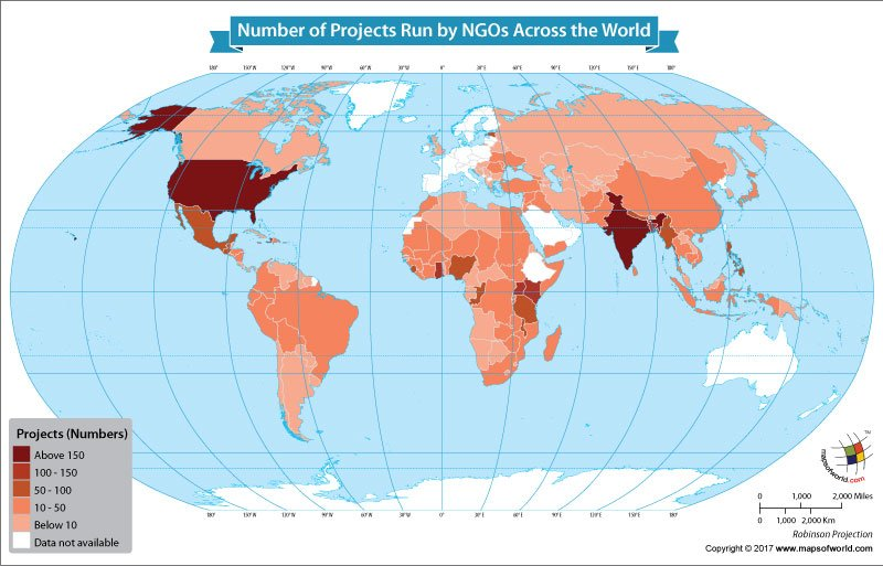World Map Showing the Number of Projects Run by NGOs Across the World
