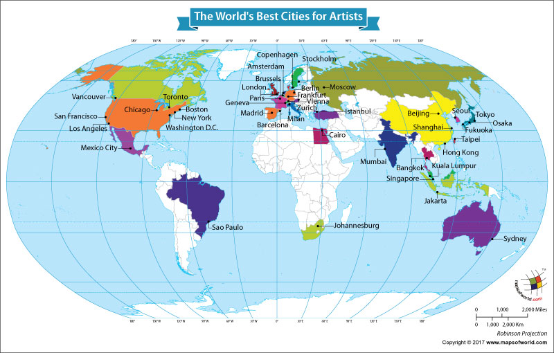 world map showing the worlds best cities for artists