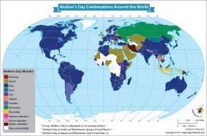 World Map Showing Mother's Day Celebrations Around the World