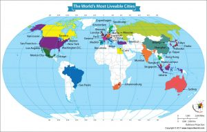 World Map Showing the World's Most Liveable Cities