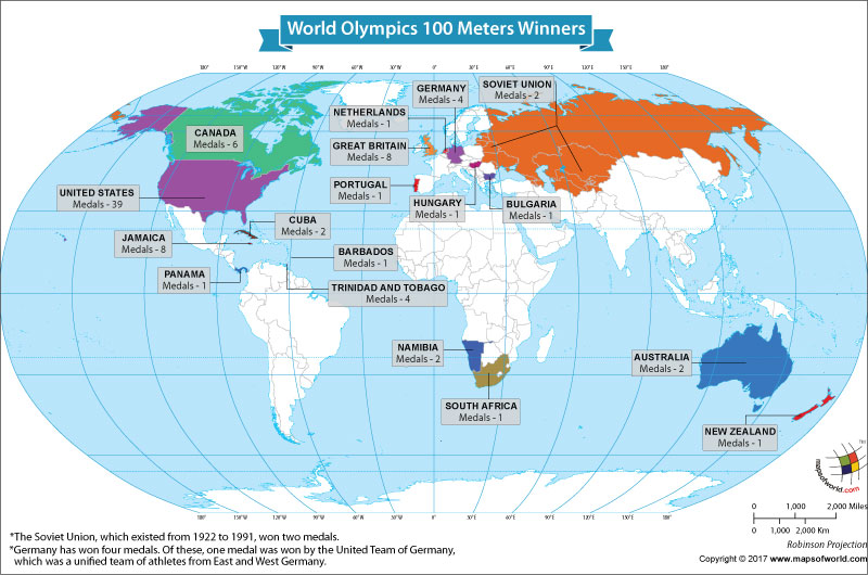 World Map Showing the World Olympics 100 Meters Winners