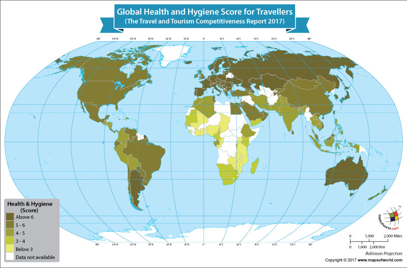 World Map Showing Global Health and Hygiene Score for Travellers