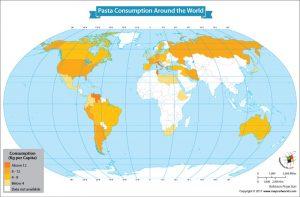 World Map Showing Pasta Consumption Around the World