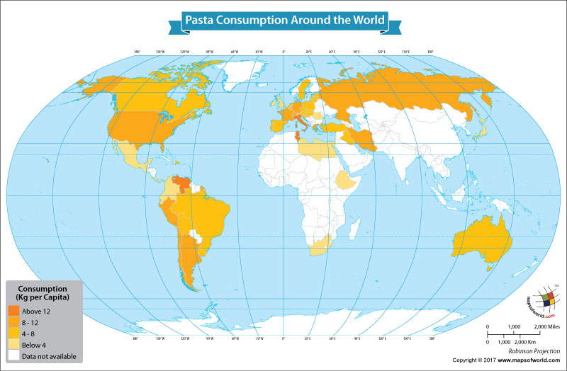 World Map Showing Pasta Consumption Around the World