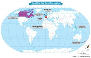 World Map Showing the World Hip Hop Dance Champions