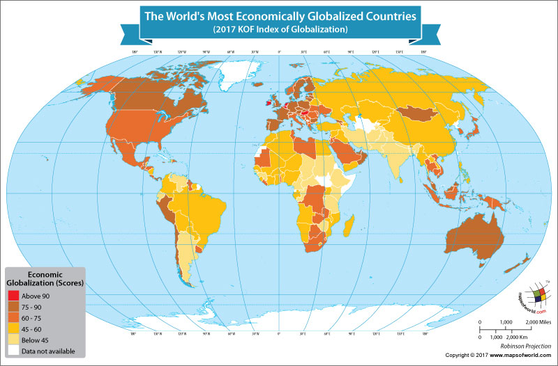 World Map Showing the Most Economically Globalized Countries
