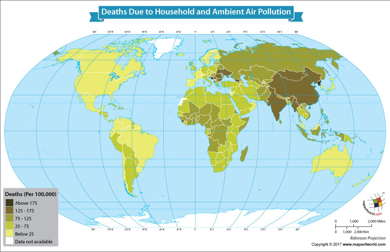World Map Showing Deaths Due to Household and Ambient Air Pollution