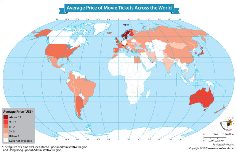 World Map Showing the Average Price of Movie Tickets Around the ...