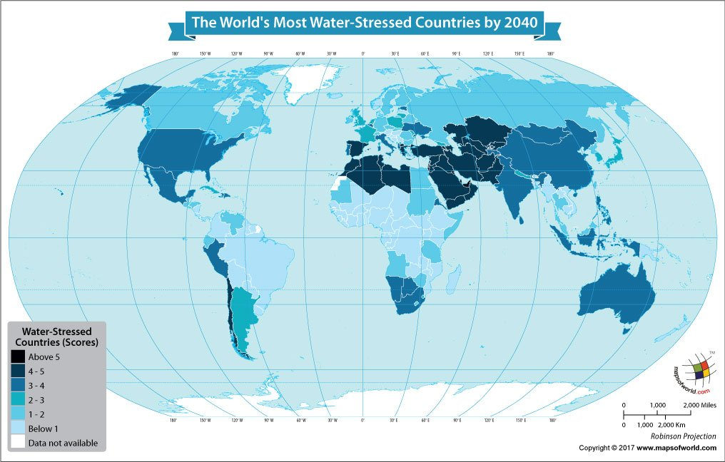 World Map Showing the Most Water Stressed Countries by 2040