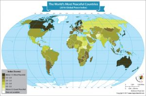 Map Showing the Most Peaceful Countries in the World