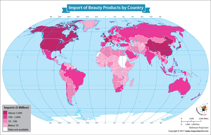 World Map Showing the Largest Importers of Beauty Products