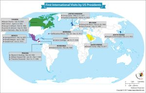 World Map Showing the First International Visits Made by the US Presidents