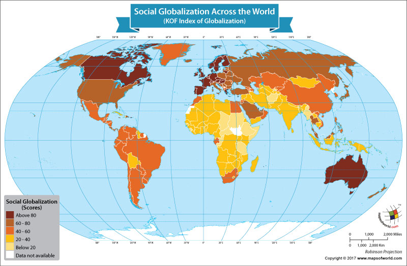 World Map Showing Social Globalization Scores of Nations