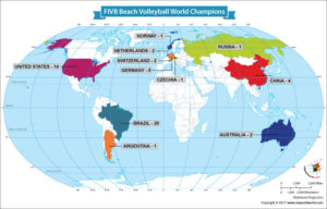 World Map Showing FIVB Beach Volleyball World Champions