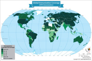 World Map Showing the DTP3 Global Immunization Coverage