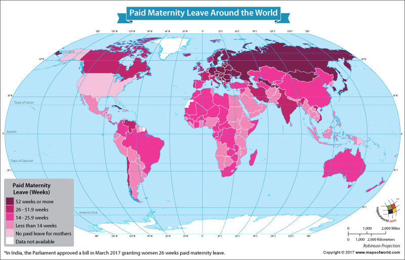 World Map Showing the Paid Maternity Leaves Around the World