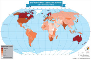 World Map Showing the World's Most Democratic Nations