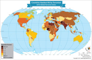 World Map Showing the Countries Hardest Hit by Terrorism
