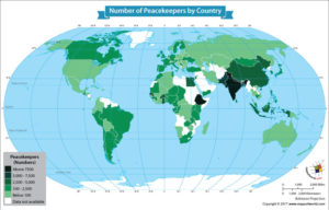 World Map Showing the Number of Peacekeepers by Country