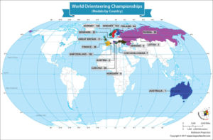 World Map Showing the Winners of the World Orienteering Championships