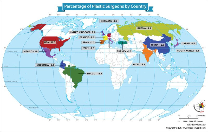 World Map Showing the Percentage of Plastic Surgeons by Country