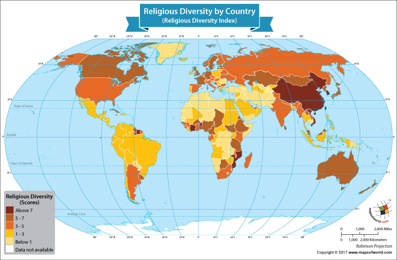 World Map Showing Religious Diversity By Country Our World - World map showing religion