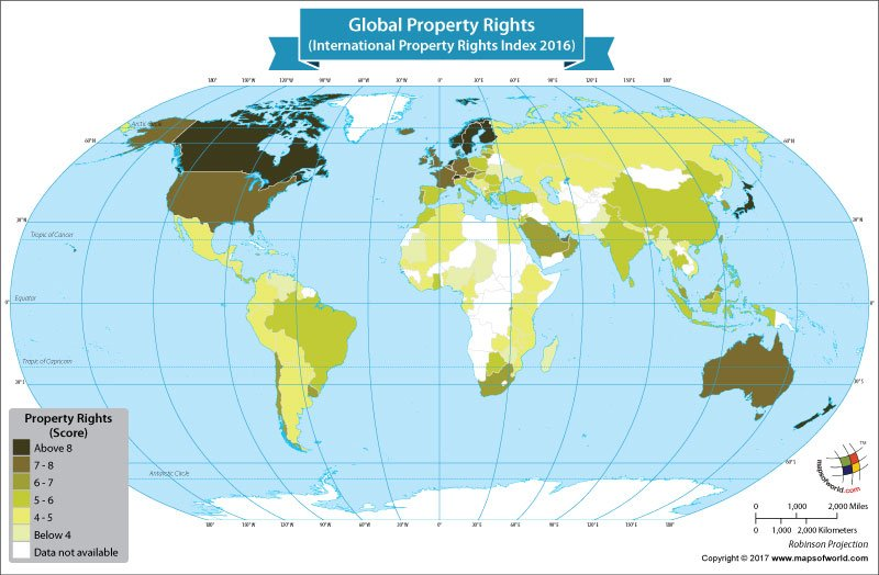 World Map Showing the Global Property Rights