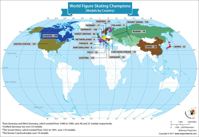 World Map Showing the World Figure Skating Champions