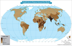 World Map Showing Estimated Deaths From Tetanus