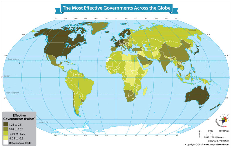 World Map Showing Most Effective Governments Around the World