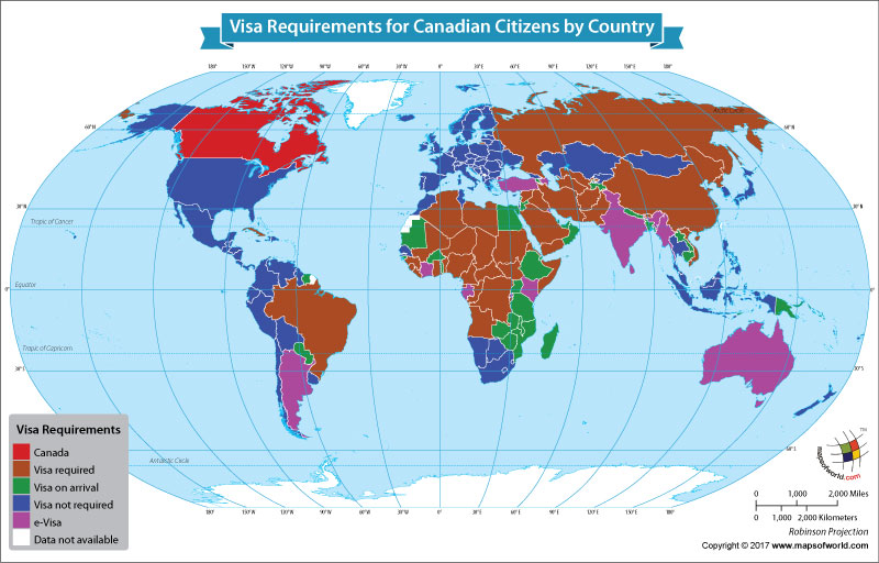 World Map Showing Visa Requirements for Canadian Citizens by Country