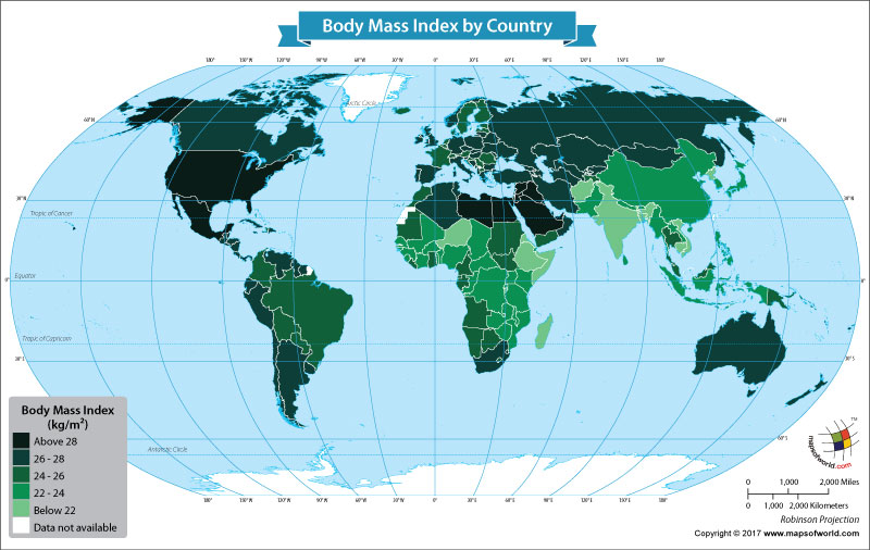 World Map Showing the Body Mass Index by Country