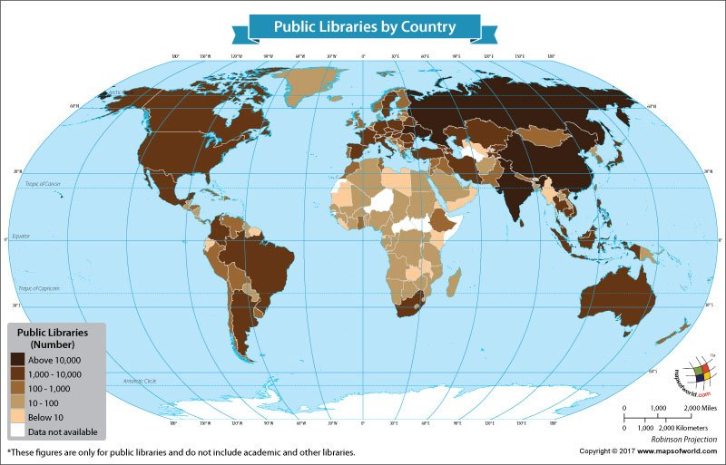 World Map Showing Public Libraries by Country
