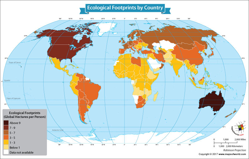 World Map Showing Ecological Footprints by Country