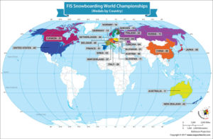 World Map Showing the FIS Snowboard World Champions